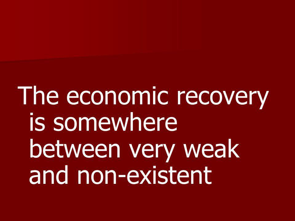 The economic recovery is somewhere between very weak and non-existent