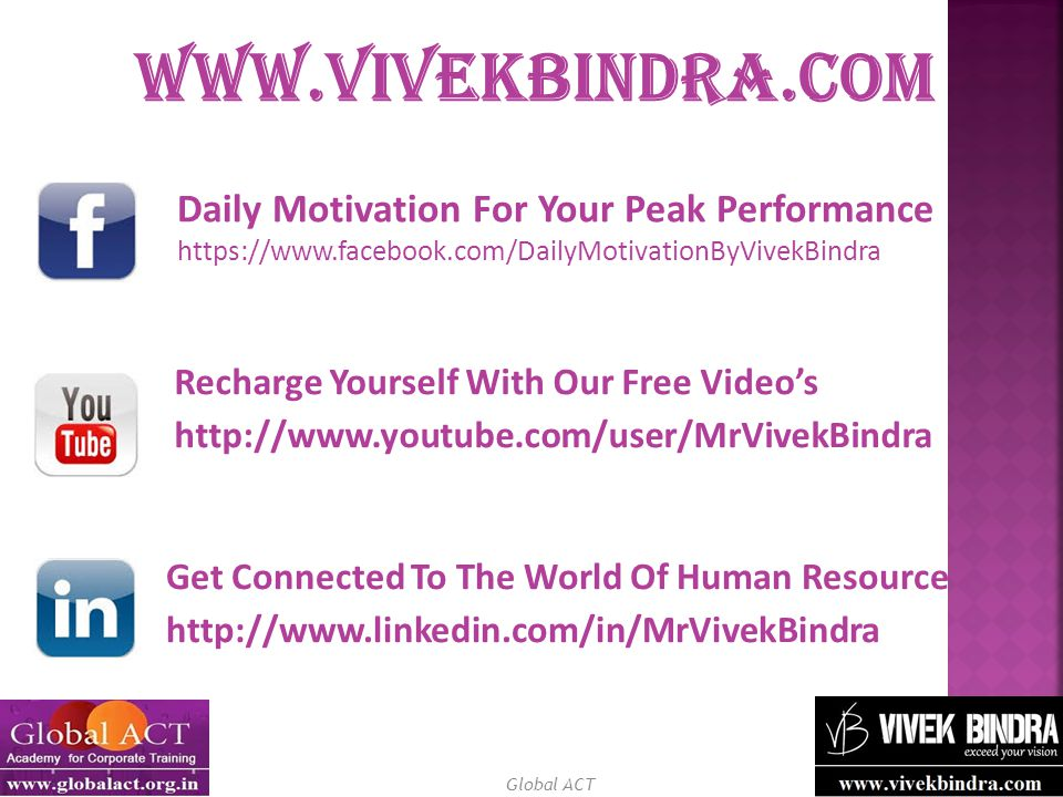 Global ACT Daily Motivation For Your Peak Performance https://www.facebook.com/DailyMotivationByVivekBindra Recharge Yourself With Our Free Video's http://www.youtube.com/user/MrVivekBindra Get Connected To The World Of Human Resource http://www.linkedin.com/in/MrVivekBindra www.vivekbindra.com