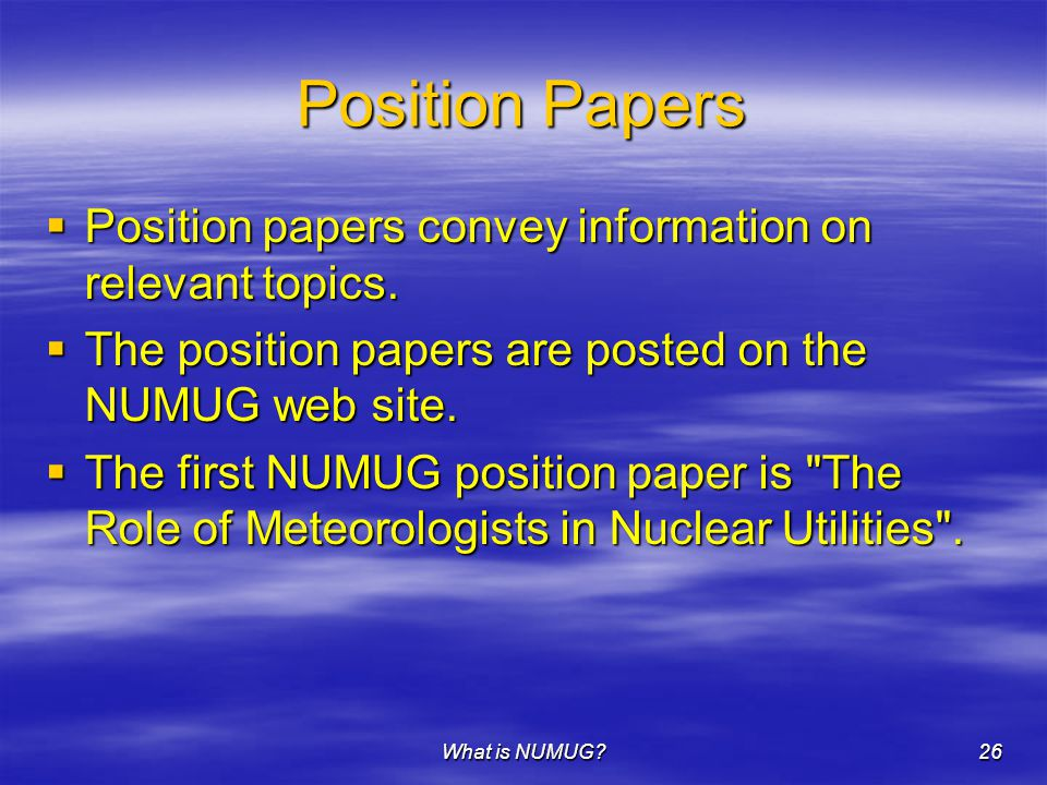 What is NUMUG 26 Position Papers  Position papers convey information on relevant topics.
