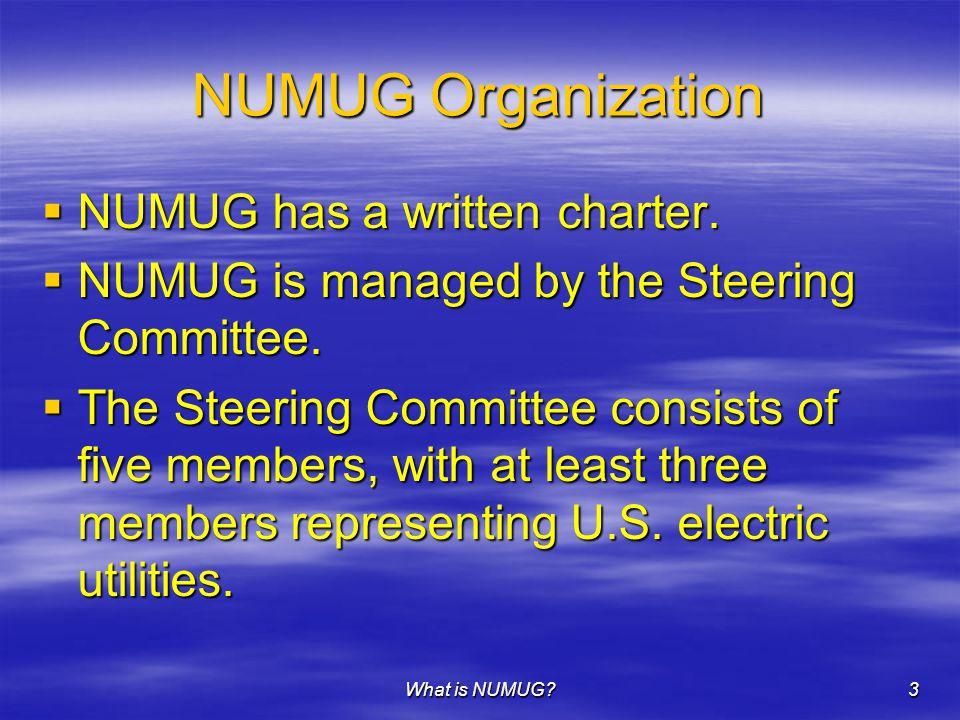 What is NUMUG 3 NUMUG Organization  NUMUG has a written charter.