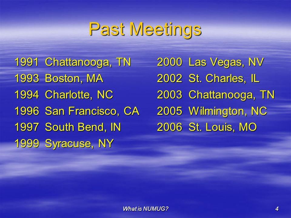 What is NUMUG?4 Past Meetings 1991Chattanooga, TN 2000Las Vegas, NV 1993Boston, MA 2002St. Charles, IL 1994Charlotte, NC 2003Chattanooga, TN 1996San F