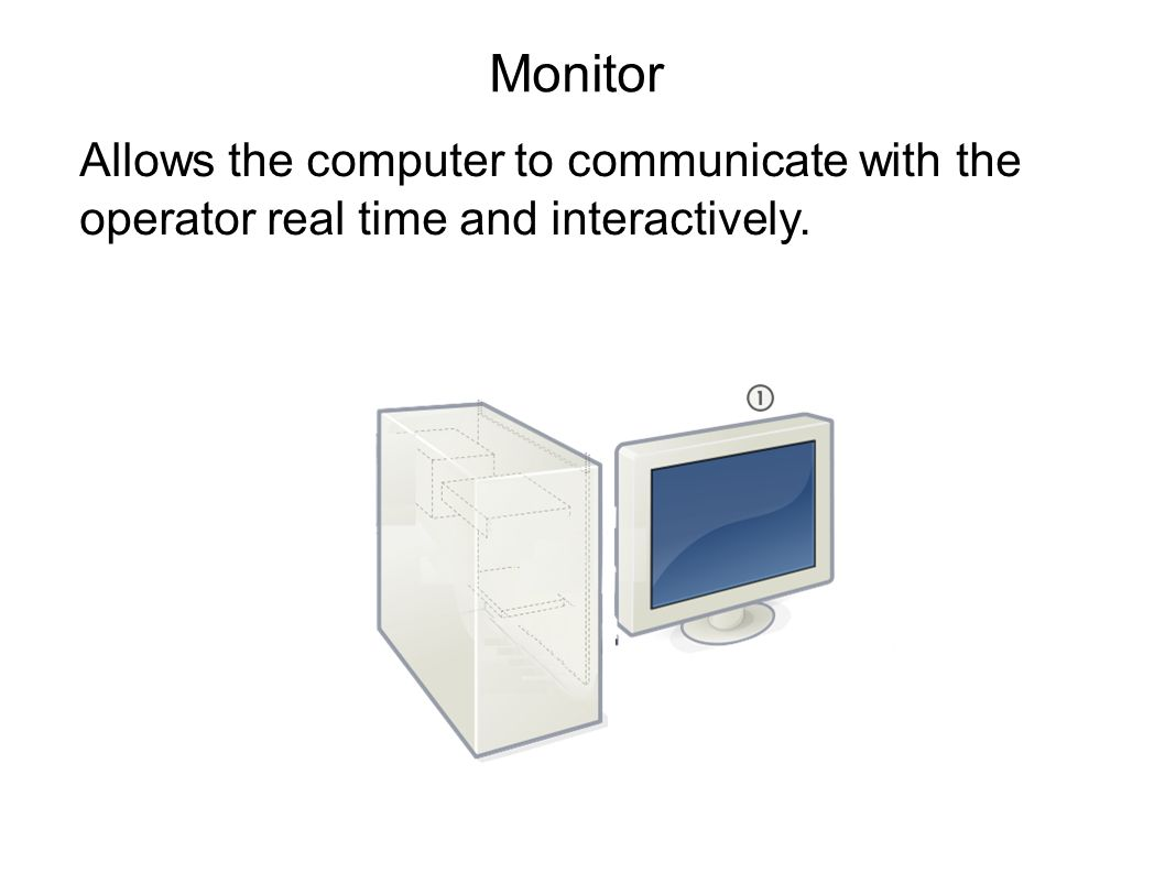Monitor Allows the computer to communicate with the operator real time and interactively.