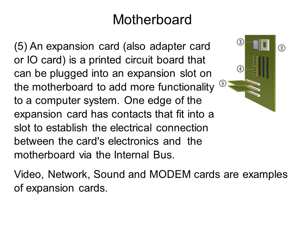 Motherboard (5) An expansion card (also adapter card or IO card) is a printed circuit board that can be plugged into an expansion slot on the motherboard to add more functionality to a computer system.