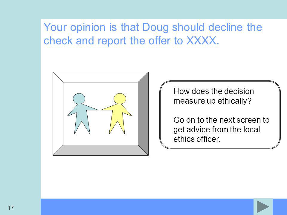 17 How does the decision measure up ethically.