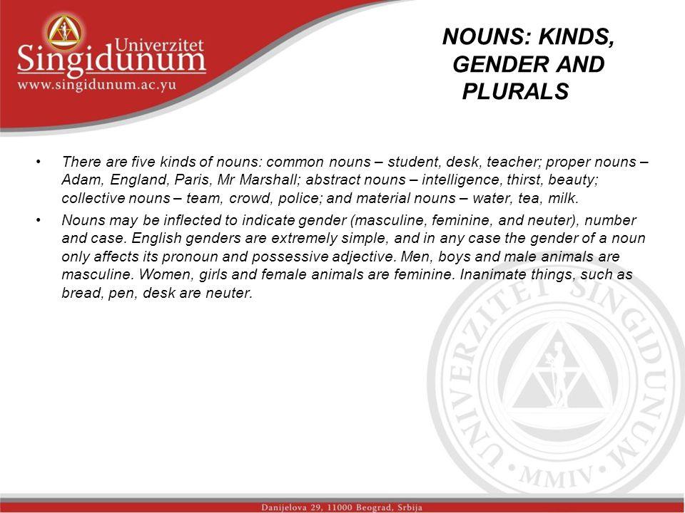 NOUNS: KINDS, GENDER AND PLURALS _str.