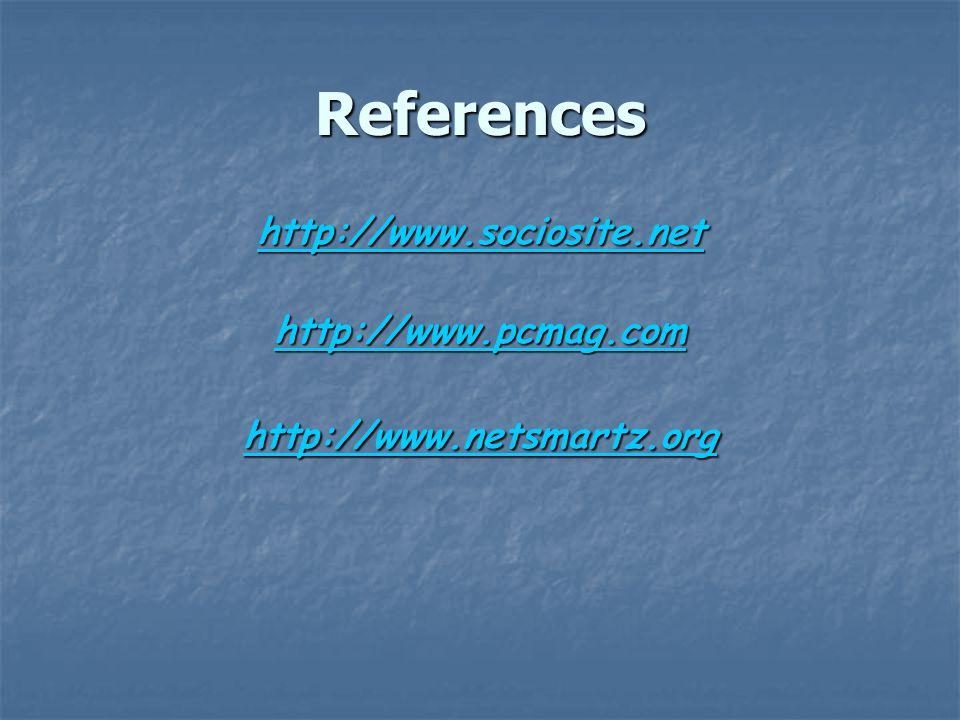 References http://www.sociosite.net http://www.pcmag.com http://www.netsmartz.org