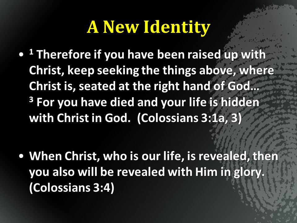 A New Identity – A New Ambition Colossians 3:1-4 Jesus + Nothing = Everything