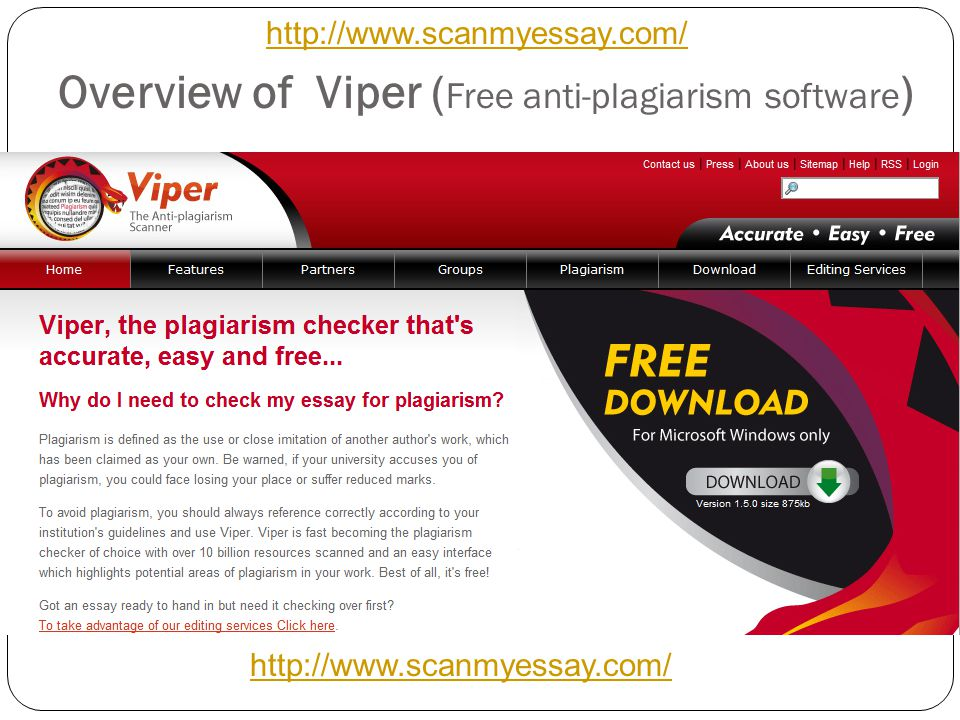 Overview of Viper ( Free anti-plagiarism software ) http://www.scanmyessay.com/