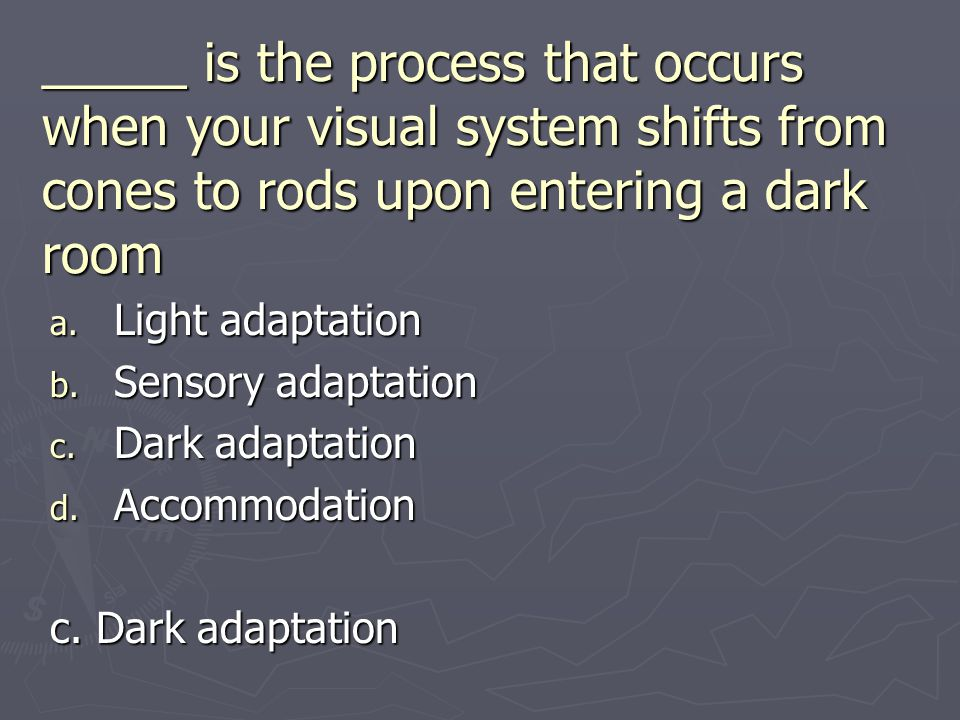 _____ is the process that occurs when your visual system shifts from cones to rods upon entering a dark room a. Light adaptation b. Sensory adaptation