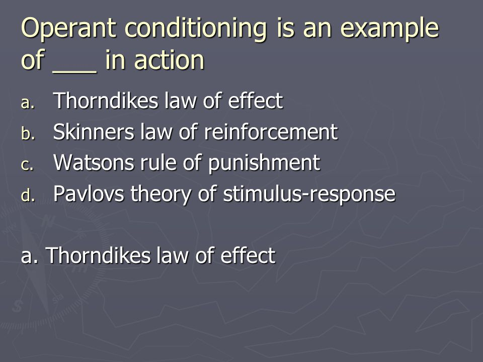 Operant conditioning is an example of ___ in action a. Thorndikes law of effect b. Skinners law of reinforcement c. Watsons rule of punishment d. Pavl