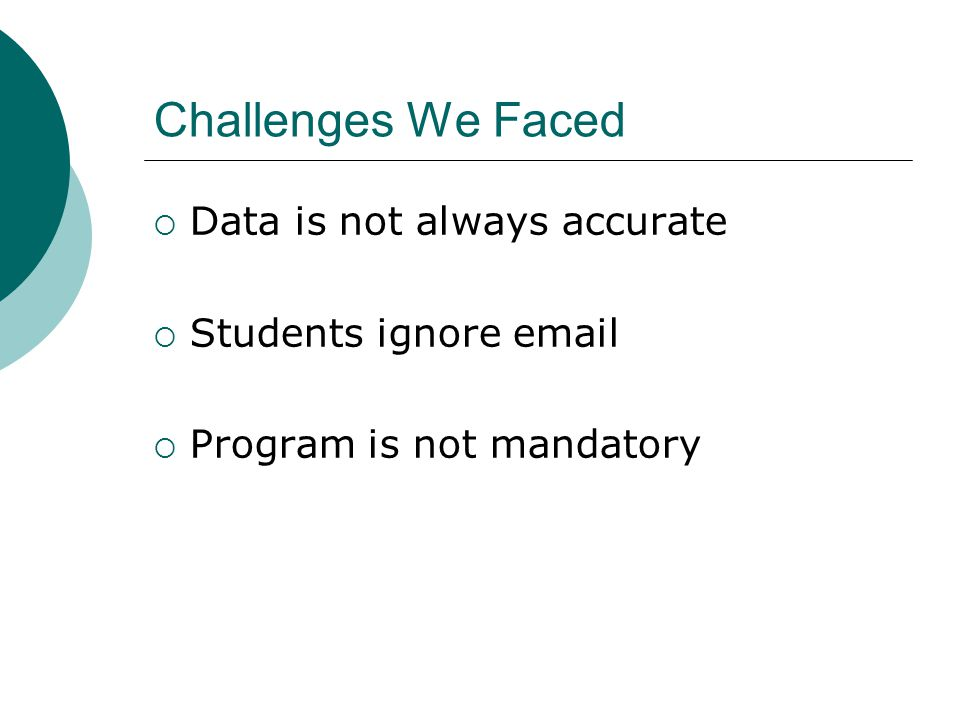 Challenges We Faced  Data is not always accurate  Students ignore email  Program is not mandatory