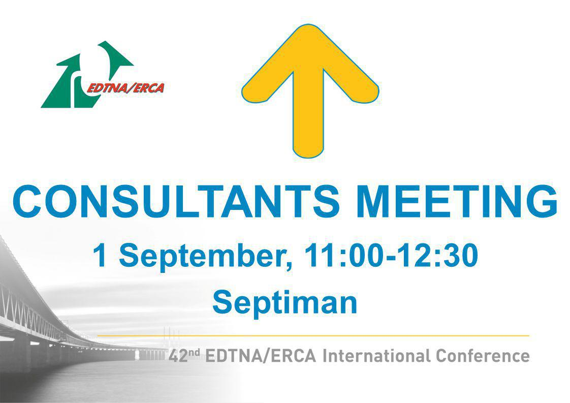 CONSULTANTS MEETING 1 September, 11:00-12:30 Septiman