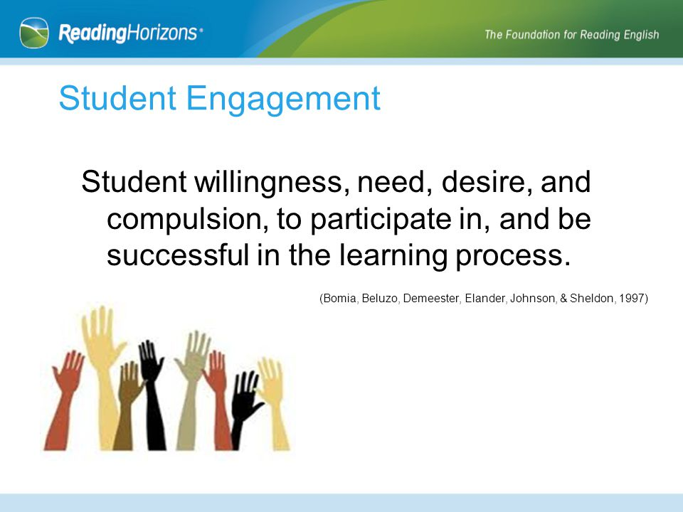 Student Engagement Student willingness, need, desire, and compulsion, to participate in, and be successful in the learning process.