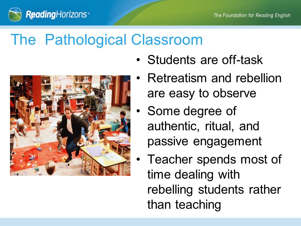 The Pathological Classroom Students are off-task Retreatism and rebellion are easy to observe Some degree of authentic, ritual, and passive engagement Teacher spends most of time dealing with rebelling students rather than teaching