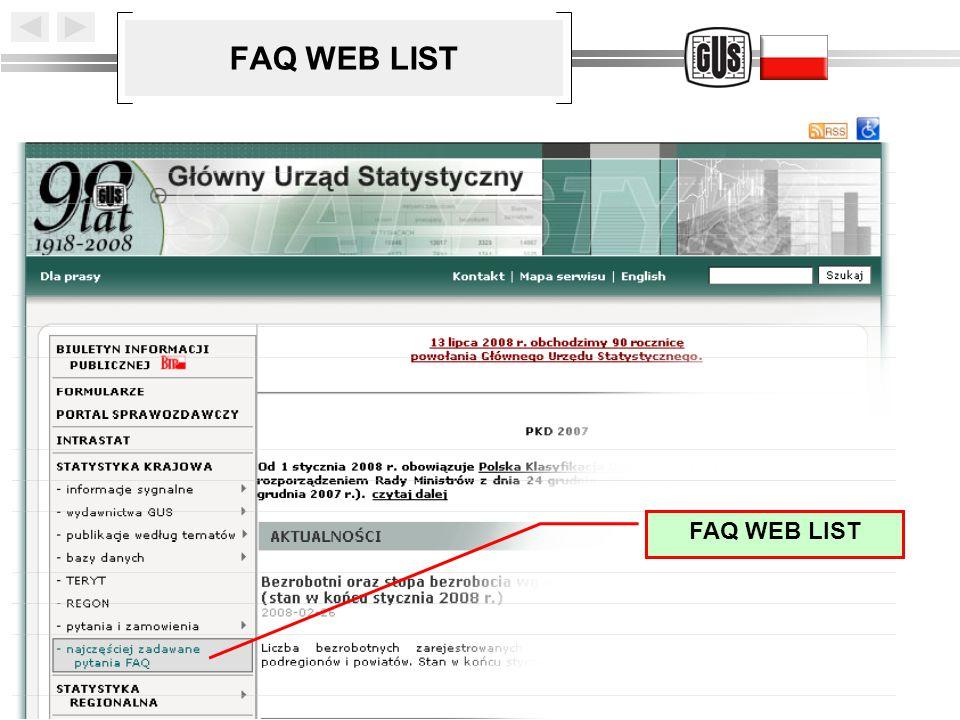 FAQ WEB LIST