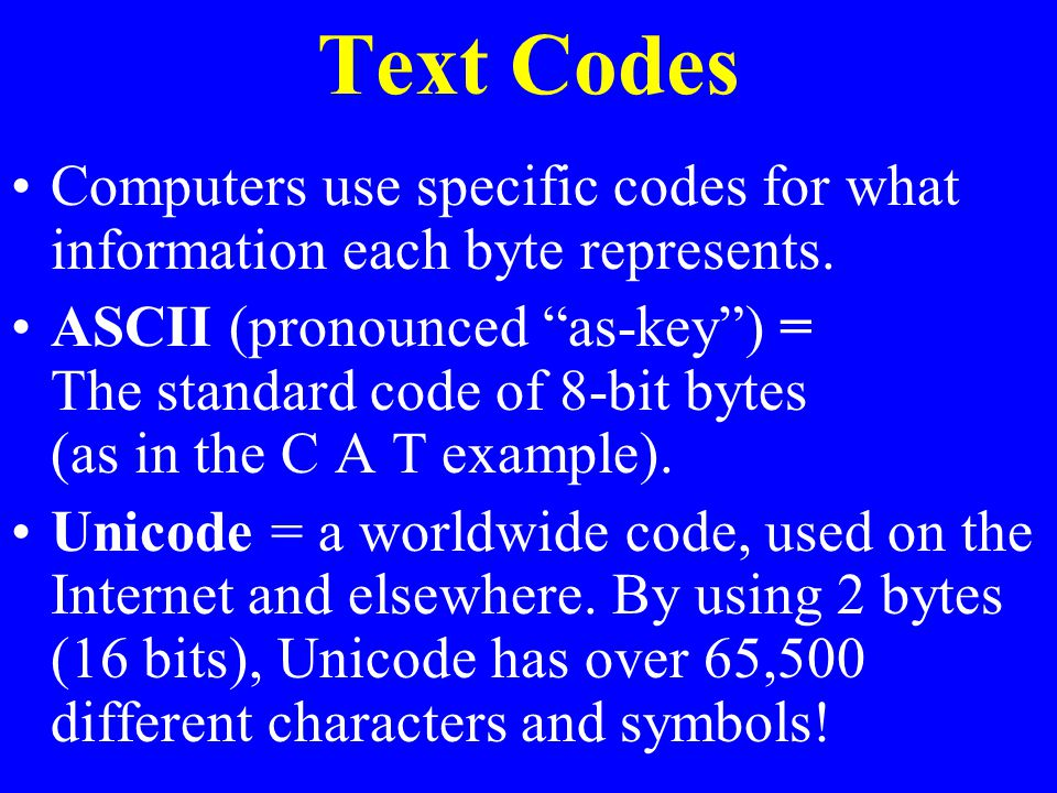 """Text Codes Computers use specific codes for what information each byte represents. ASCII (pronounced """"as-key"""") = The standard code of 8-bit bytes (as"""