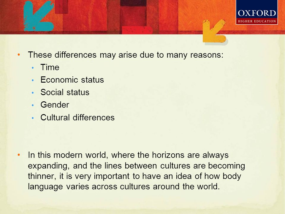 Body Language Determinants Greetings Postures Gestures How people of different cultures greet each other Different gestures mean different things in different cultures.