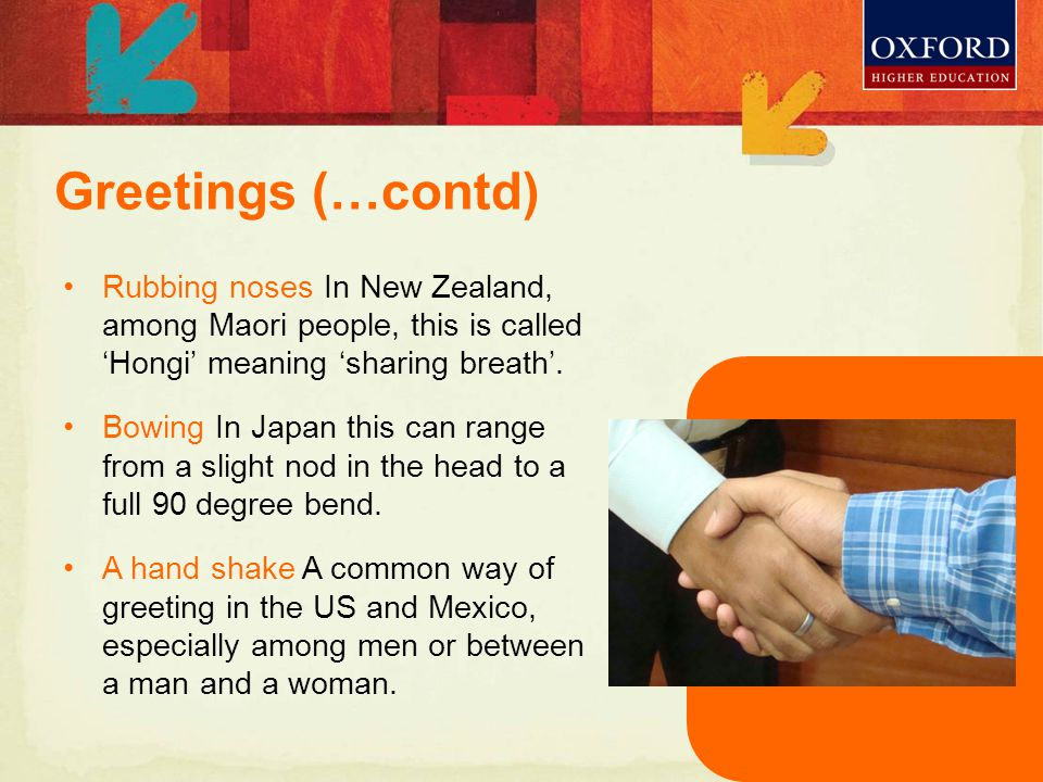 Rubbing noses In New Zealand, among Maori people, this is called 'Hongi' meaning 'sharing breath'.