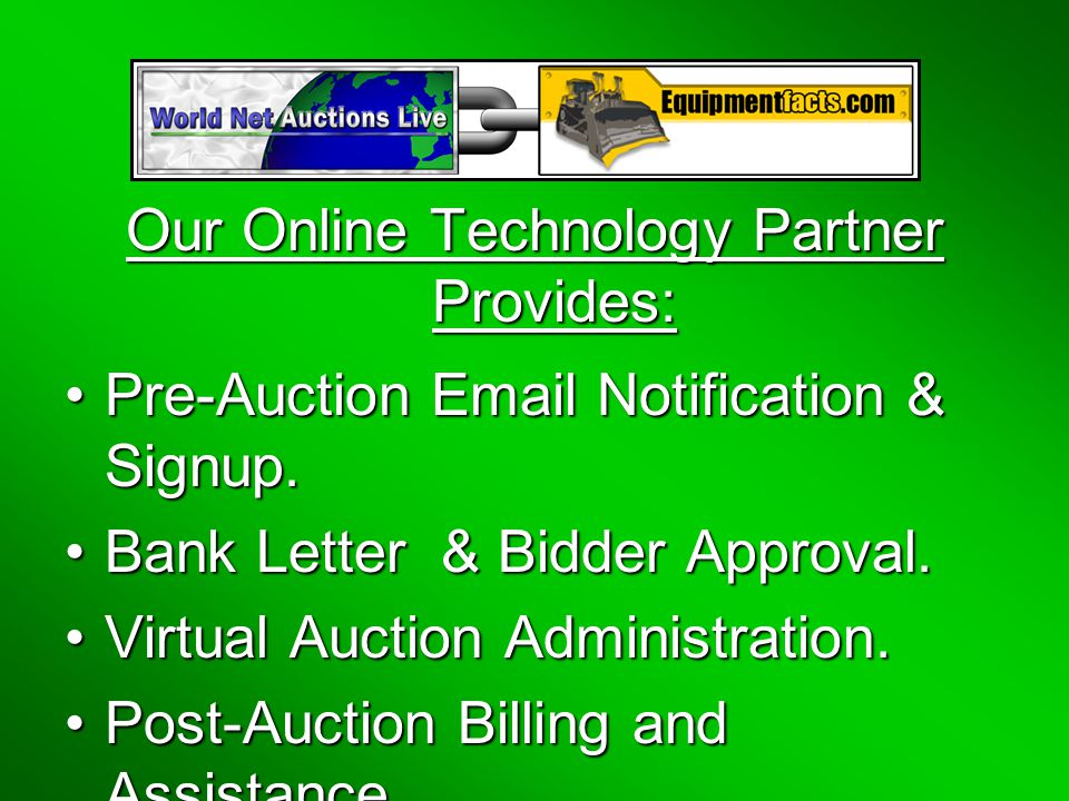 Our Online Technology Partner Provides: Pre-Auction Email Notification & Signup.Pre-Auction Email Notification & Signup.