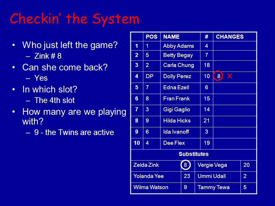 Checkin' the System Who just left the game? –Zink # 8 Can she come back? –Yes In which slot? –The 4th slot How many are we playing with? –9 - the Twin