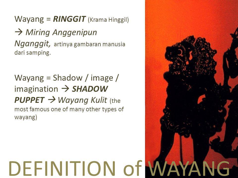DEFINITION of WAYANG Wayang = RINGGIT (Krama Hinggil)  Miring Anggenipun Nganggit, artinya gambaran manusia dari samping.
