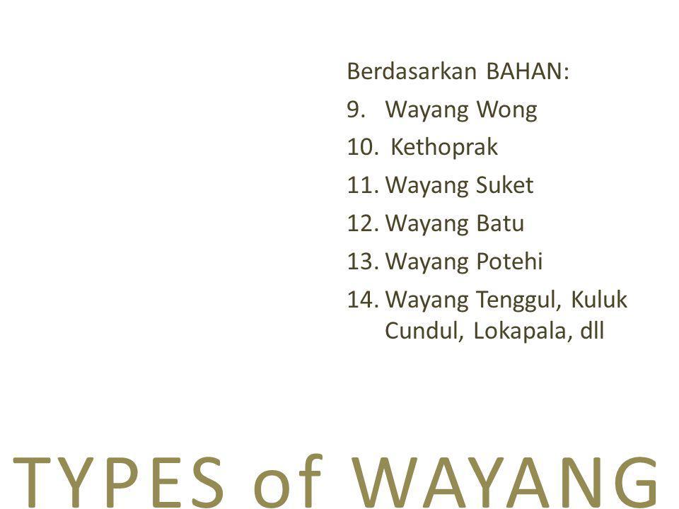 TYPES of WAYANG Berdasarkan BAHAN: 9.Wayang Wong 10.