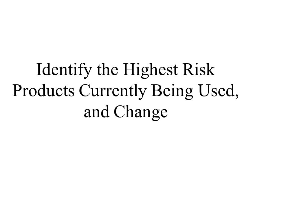 Identify the Highest Risk Products Currently Being Used, and Change