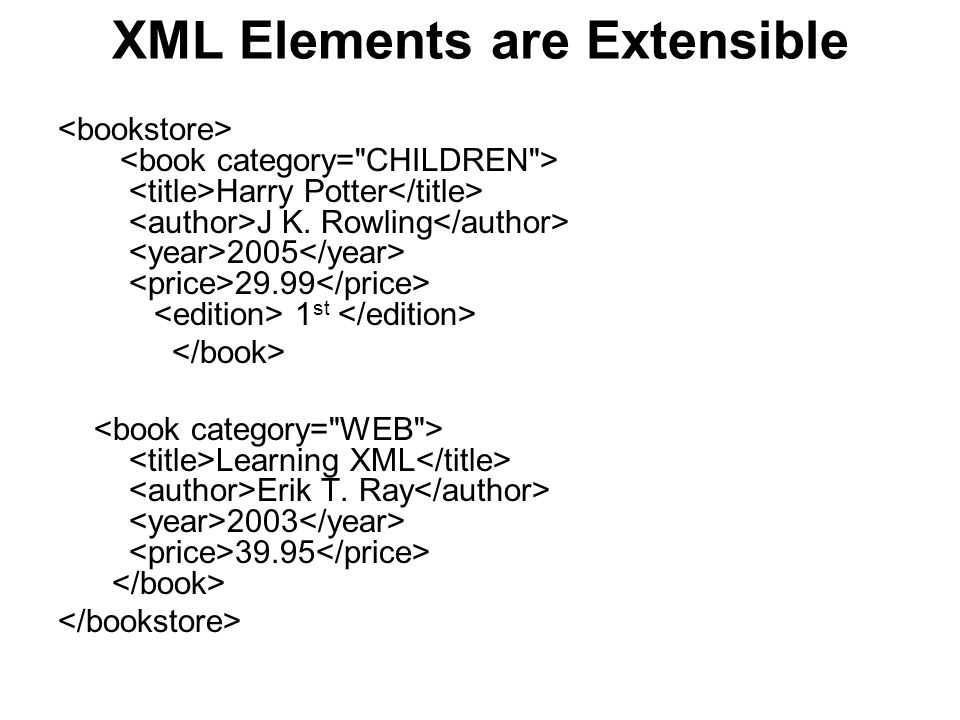 XML Elements are Extensible Harry Potter J K. Rowling 2005 29.99 1 st Learning XML Erik T. Ray 2003 39.95