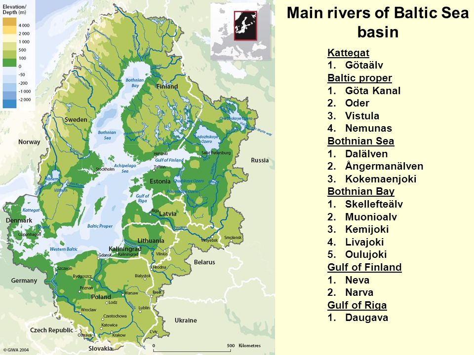Main rivers of Baltic Sea basin Kattegat 1.Götaälv Baltic proper 1.Göta Kanal 2.Oder 3.Vistula 4.Nemunas Bothnian Sea 1.Dalälven 2.Ångermanälven 3.Kokemaenjoki Bothnian Bay 1.Skellefteälv 2.Muonioalv 3.Kemijoki 4.Livajoki 5.Oulujoki Gulf of Finland 1.Neva 2.Narva Gulf of Riga 1.Daugava