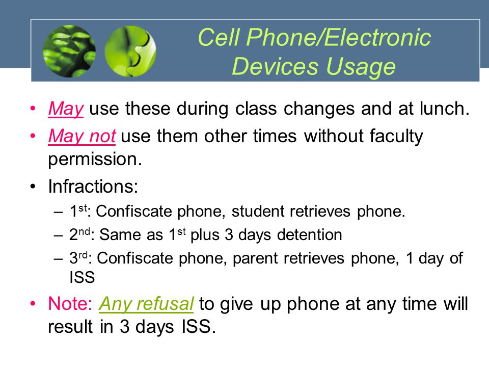Cell Phone/Electronic Devices Usage May use these during class changes and at lunch.
