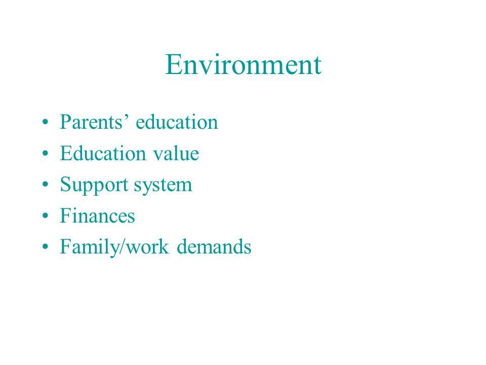 Environment Parents' education Education value Support system Finances Family/work demands