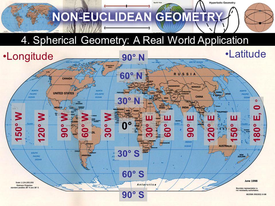 Longitude 0°0° 60° E 120° E 90° E30° E 150° E180° E, 0 ° 150° W 90° W 120° W 60° W30° W Latitude 30° N 60° N 90° N 90° S 60° S 30° S 4. Spherical Geom