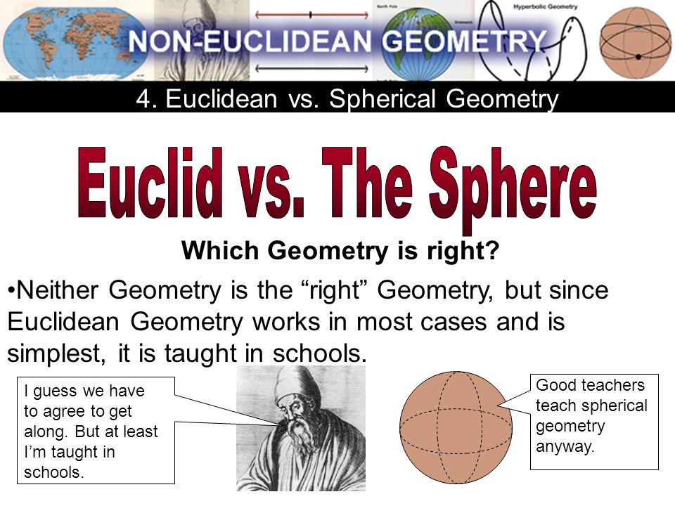 """Neither Geometry is the """"right"""" Geometry, but since Euclidean Geometry works in most cases and is simplest, it is taught in schools. Good teachers tea"""