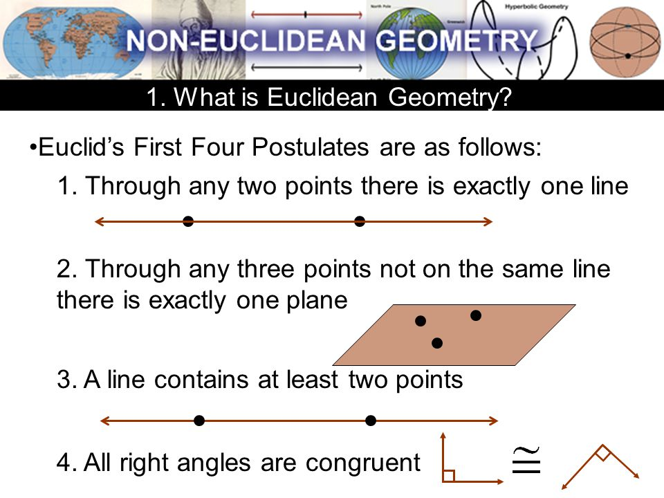Euclid's First Four Postulates are as follows: 1. Through any two points there is exactly one line 2. Through any three points not on the same line th
