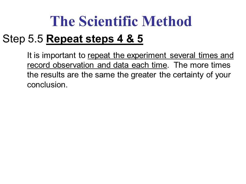 The Scientific Method Step 6: Draw a Conclusion Using the data collected and organized to interpret easily, try to see if it supported or failed to support your hypothesis.