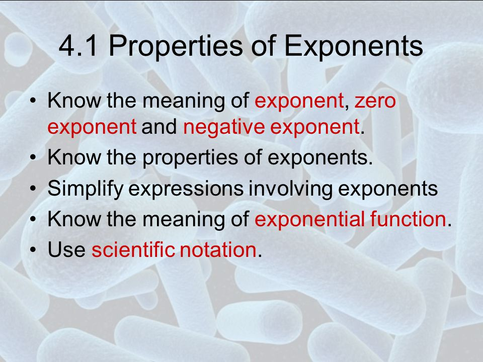 Negative Exponent If b ≠ 0 and n is a counting number, then To find, take its reciprocal and switch the sign of the exponent Examples,