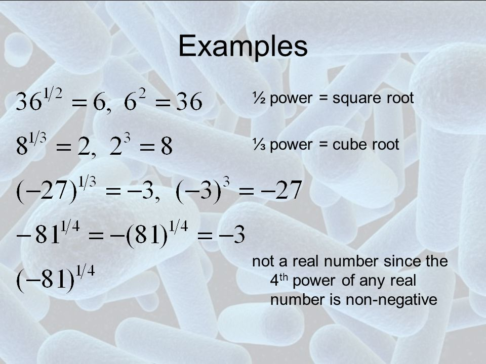Examples ½ power = square root ⅓ power = cube root not a real number since the 4 th power of any real number is non-negative