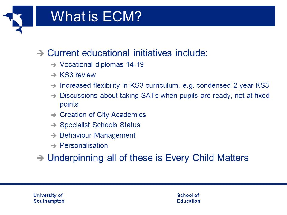 University ofSchool of Southampton Education What is ECM?  Current educational initiatives include:  Vocational diplomas 14-19  KS3 review  Increa