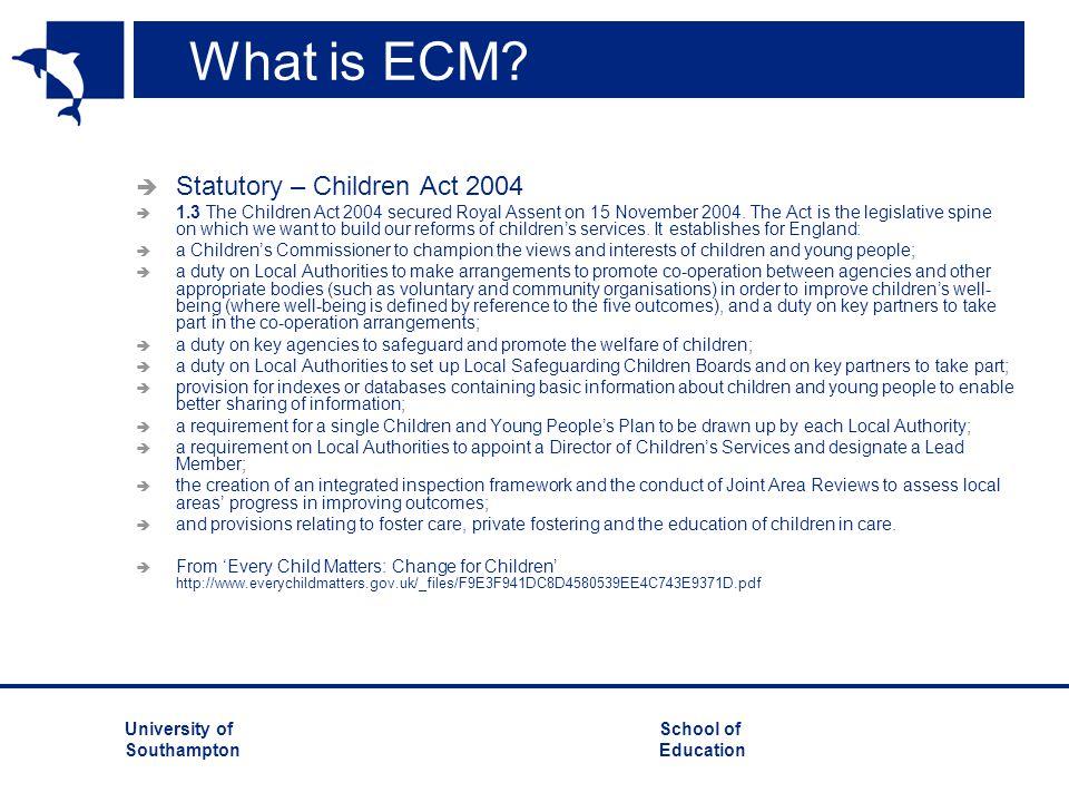 University ofSchool of Southampton Education What is ECM.