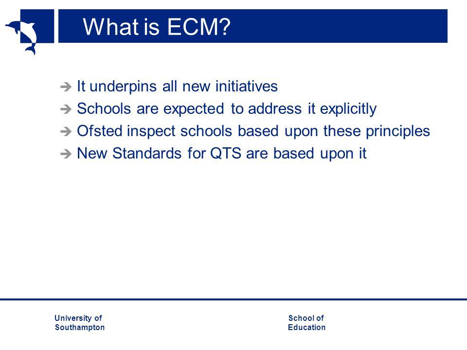 University ofSchool of Southampton Education Why ECM.