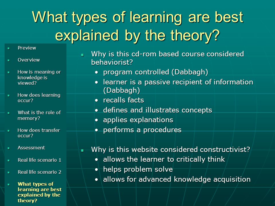 What types of learning are best explained by the theory.