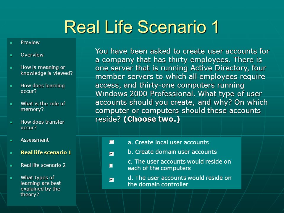 Real Life Scenario 1 Introduction Introduction Demo 1 Demo 1 Demo 2 Demo 2 You have been asked to create user accounts for a company that has thirty employees.