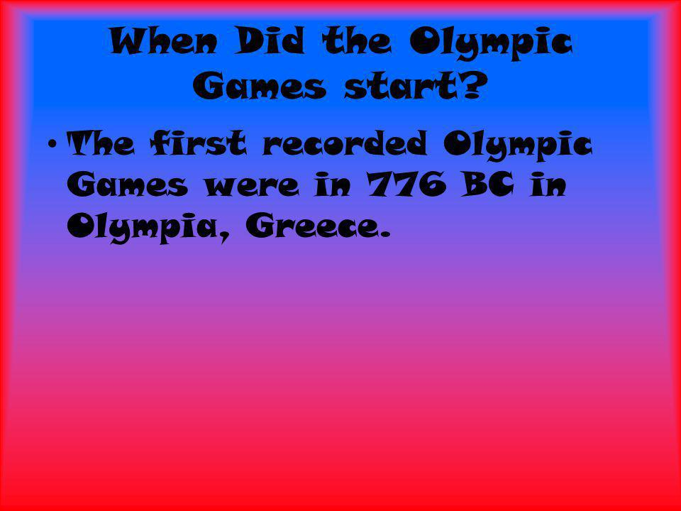 When Did the Olympic Games start.