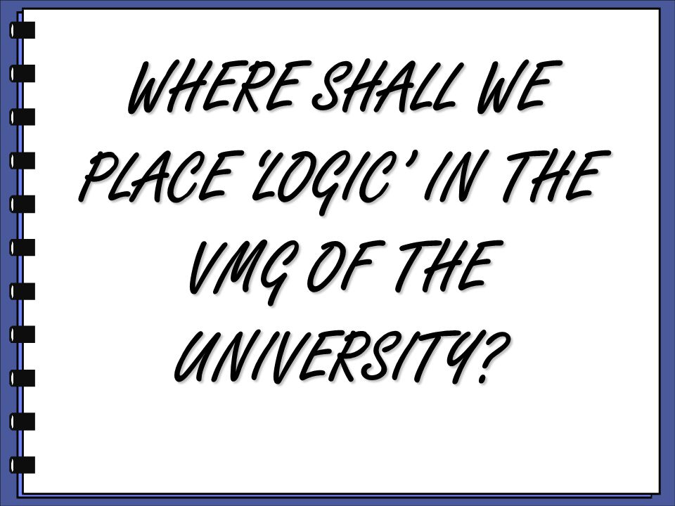 WHERE SHALL WE PLACE 'LOGIC' IN THE VMG OF THE UNIVERSITY