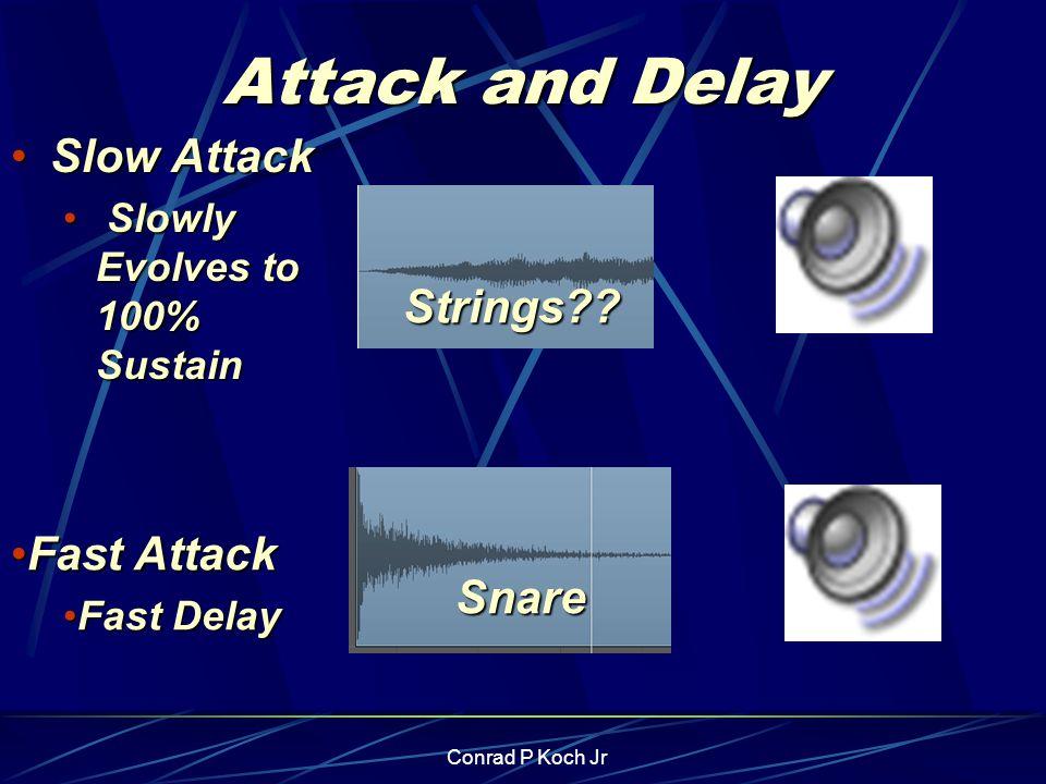 Conrad P Koch Jr Attack and Delay Slow AttackSlow Attack Slowly Evolves to 100% Sustain Slowly Evolves to 100% Sustain Fast AttackFast Attack Fast DelayFast Delay Snare Strings