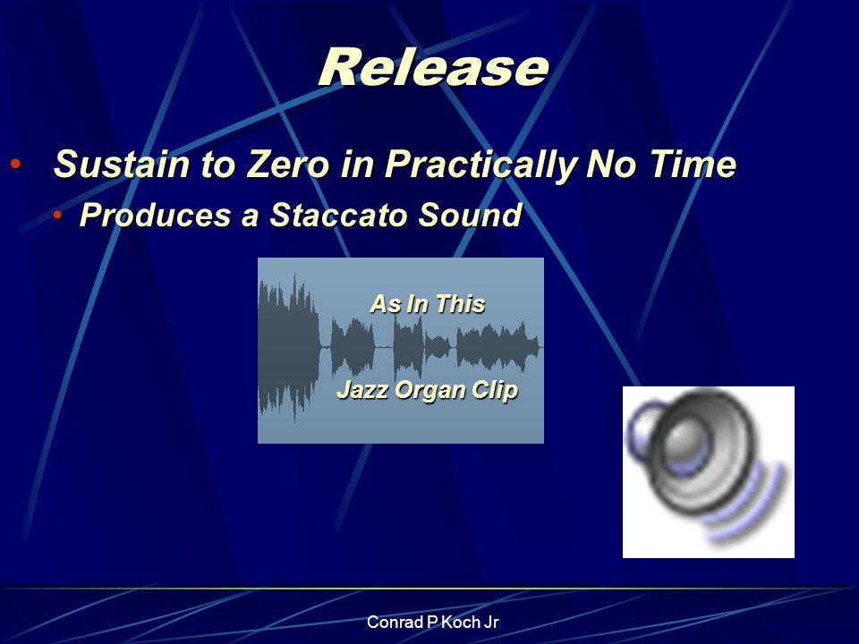 Conrad P Koch Jr Release Sustain to Zero in Practically No Time Sustain to Zero in Practically No Time Produces a Staccato SoundProduces a Staccato Sound As In This Jazz Organ Clip