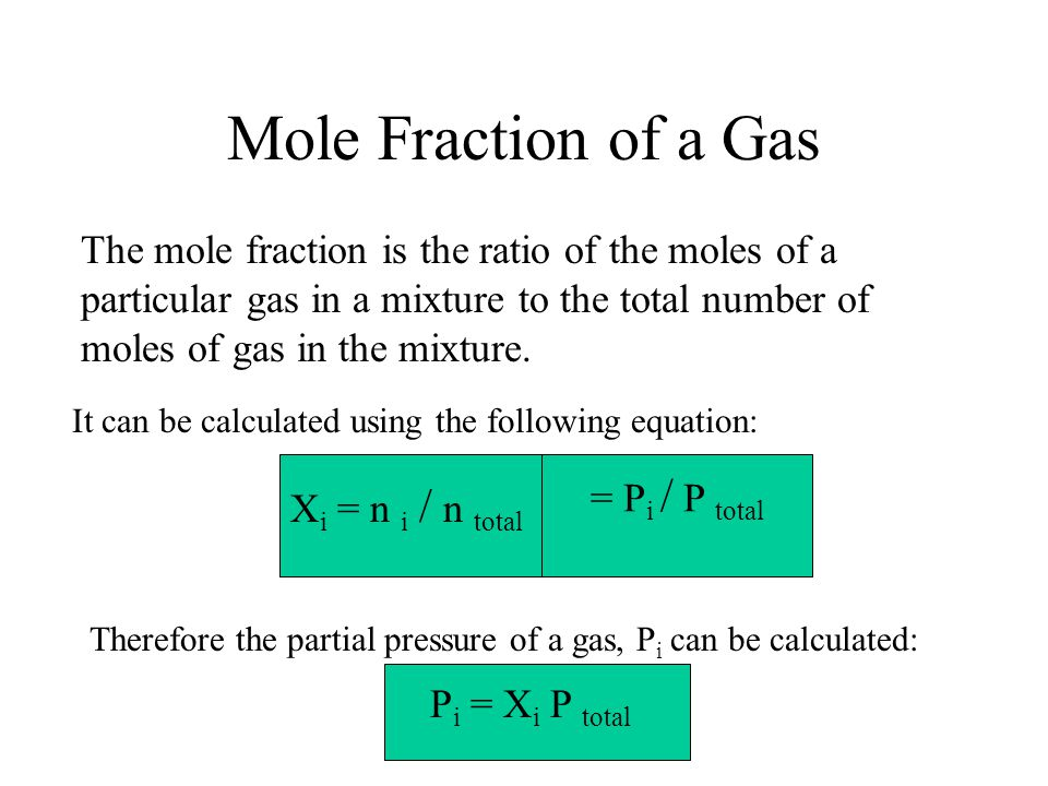 Mole Fraction of a Gas The mole fraction is the ratio of the moles of a particular gas in a mixture to the total number of moles of gas in the mixture