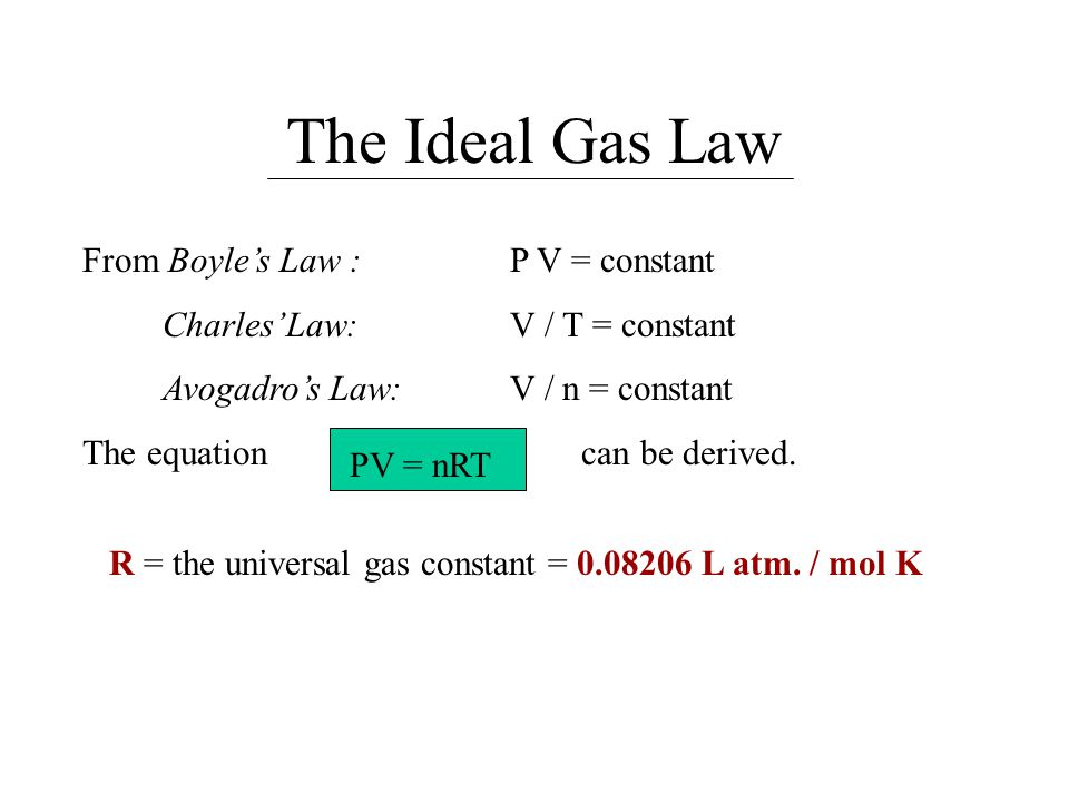 The Combined Gas Law This equation is derived from the Ideal Gas Law: P 1 V 1 / T 1 = P 2 V 2 / T 2 For all gas laws the temperature must be in Kelvins.