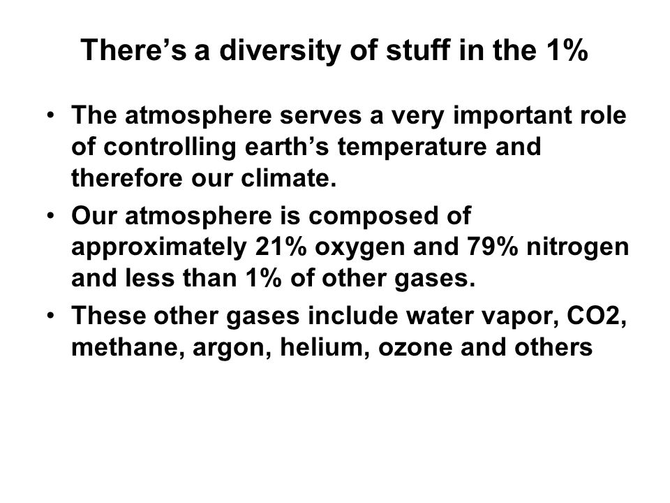 There's a diversity of stuff in the 1% The atmosphere serves a very important role of controlling earth's temperature and therefore our climate. Our a