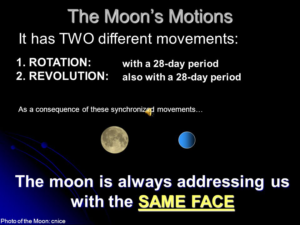 The Moon is the Earth's Satellite The Moon is the only satellite of the Earth.